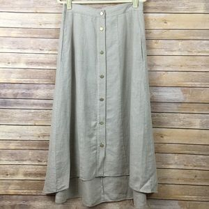 Soft Surroundings Beige Linen Maxi Skirt SZ Small